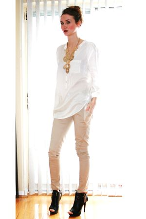 black Spring shoes - white H&M top - beige Talulah pants - gold vintage necklace
