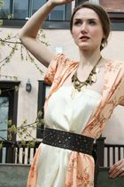 brown Target belt - white wilfred dress - orange vintage coat - gold H&M necklac