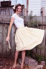 Brown-michael-kors-shoes-gold-vintage-skirt-white-baia-blue-label-shirt