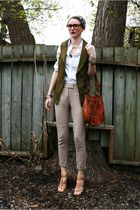 green Vero Moda vest - white Club Monaco shirt - beige Zara pants - beige Nine W