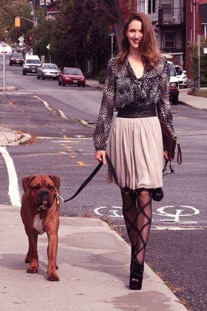 black Bordello shoes - beige La Collection skirt