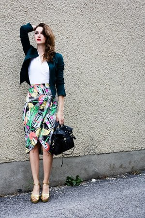 teal vintage skirt