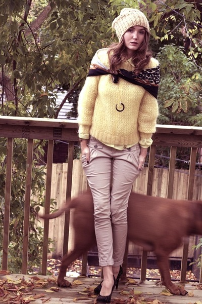 yellow thrifted blouse - yellow thrifted sweater - beige Talulah pants - black F