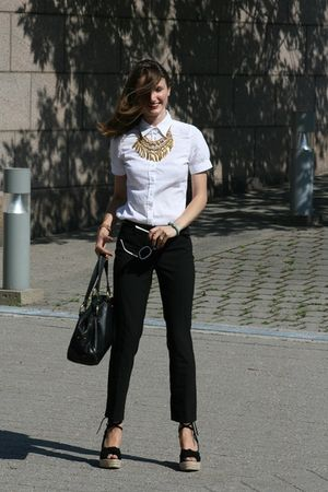 black Halston shoes - black Express pants - white Jacob shirt - gold expression