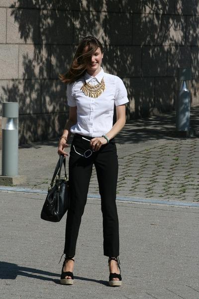 black Halston shoes - black Express pants - white Jacob shirt - gold expression