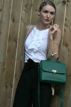 green vintage purse - black Zara pants - white Club Monaco shirt - beige Rodarte