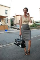 black Spring shoes - gray Express skirt - beige danier top - black Marc Jacobs p