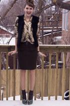 teal Irregular Choice shoes - olive green Bedo skirt - black DIY vest - gold chi