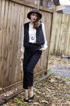 black vintage pants - white H&M blouse - black Forever 21 shoes - black Smart Se