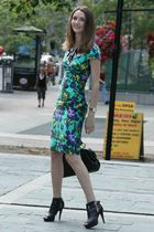 green Sandra Angelozzi dress - black Spring shoes - black H&M necklace