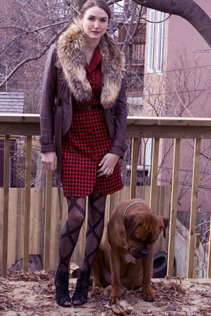 brown danier jacket - black Aldo shoes - ruby red ann taylor dress