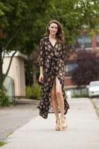 gold Halston shoes - black vintage dress