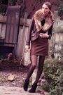 Black-zara-shoes-brown-danier-jacket-brown-lustre-skirt