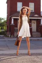 nude Nine West shoes - white Club Monaco dress - olive green Vero Moda vest