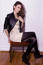 black Zara boots - cream lustre dress - black Sandra Angelozzi jacket - gold Fra