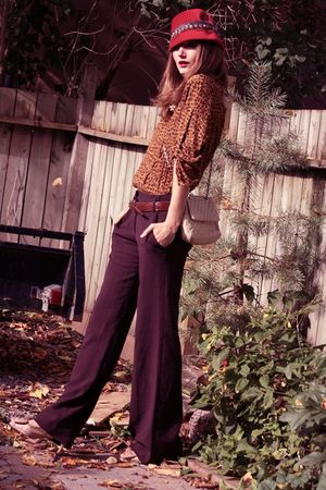 brown Zara top - beige Zara shoes - orange vintage hat