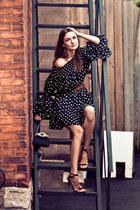 black Sasha shoes - black romwe dress