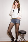 Ivory-club-monaco-blazer-navy-miss-sixty-shorts-white-pink-tartan-blouse