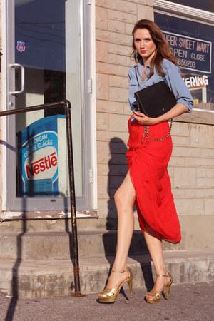gold Halston shoes - sky blue vintage blouse - ruby red Mango skirt
