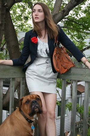white Club Monaco skirt - silver rachel roy top - blue Pink Tartain blazer - bro
