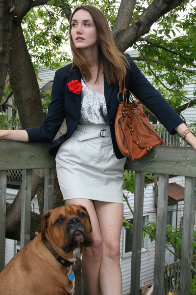 white Club Monaco skirt - silver rachel roy top - blue Pink Tartain blazer - bro