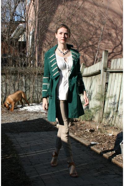 green Cacharel coat - white Biance Nygard top - beige Zara pants - beige Narcisc