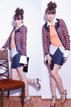brick red pink tartan blazer - navy lustre skirt