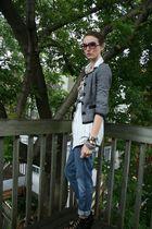 black Aldo shoes - gray Smart Set blazer - white vintage blouse