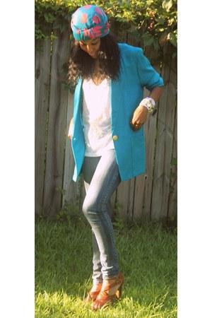 turquoise blue vintage blazer - blue Forever 21 jeans - white Forever 21 top