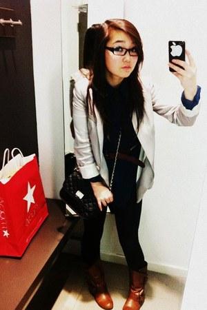 tawny Nine West boots - black Forever 21 jeans - silver H&M blazer - black Forev