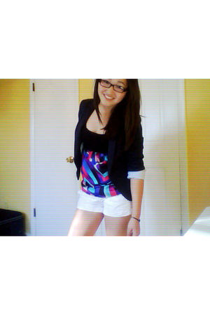 black blazer - purple blouse - white shorts