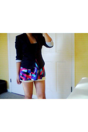 blue H&M blazer - purple Forever21 blouse - white hollister shorts
