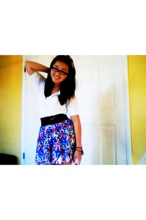 white blouse - purple Forever 21 skirt - silver Forever 21 accessories