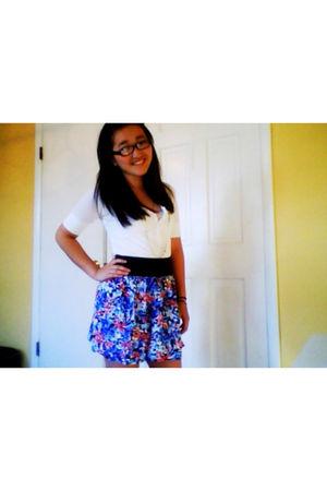 white blouse - purple skirt - gray accessories