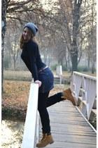 mustard Timberland boots - dark gray H&M blouse - charcoal gray Terranova skirt
