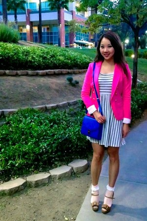 white Forever 21 dress - hot pink H&M blazer - blue Forever 21 bag