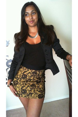 H&amp;M skirt - H&amp;M blazer - H&amp;M top - Forever 21 earrings - The Limited watch
