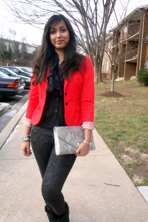 H&M jeans - winter Dansko boots - red H&M blazer - H&M bag