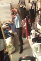 black skinny tripp jeans - black socks - sky blue Girls Scout vest - black top