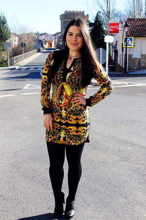 black Deichmann boots - yellow basik dress - black Calzedonia leggings