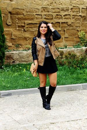 brown basik jacket - black Zara shorts - turquoise blue Ray Ban sunglasses