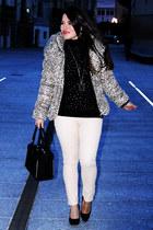 brown Local store jacket - white Zara jeans - black ivankatrump bag