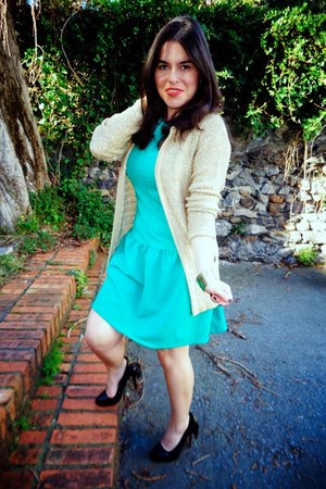 green Local store dress - black Marypaz heels - light yellow Zara cardigan