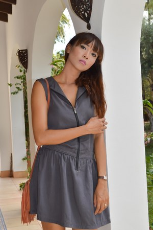 gray zipper front Comptoir des Cotonniers dress