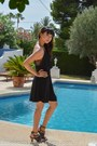 Black-zara-dress-black-zara-sandals-bronze-handmade-bracelet
