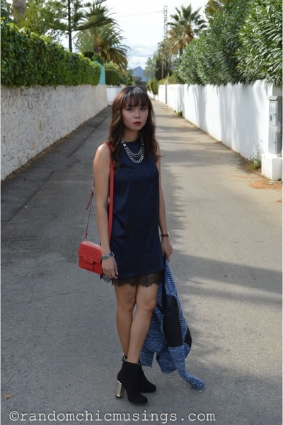 black boots - navy Zara dress - navy jacket - ruby red leather handbag bag