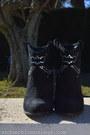 Black-zara-boots-light-purple-floral-print-h-m-scarf