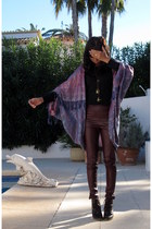 violet DIY cardigan - dark brown lace up boots thrifted boots