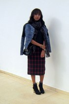 blue tweed Zara jacket - dark gray ankle boots Zara boots