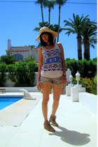 flea market top - Zara boots - alehop hat - Miss Sixty shorts